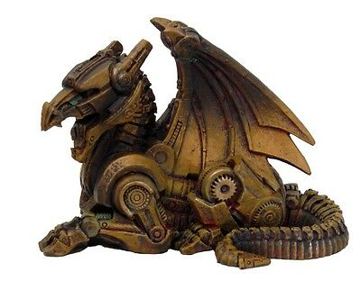 Steampunk Mini Dragon Statue Figurine Desktop Accessory Rustic Robotic Being