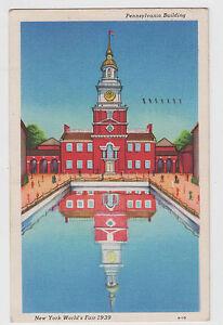 1939-New-York-Worlds-Fair-Pennsylvania-Building-Postcard-Linen