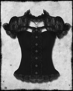 HELL-BUNNY-BLACK-LACE-STEAMPUNK-GOTHIC-LOLITA-SHORT-SLEEVE-NIHILIST-CORSET-TOP
