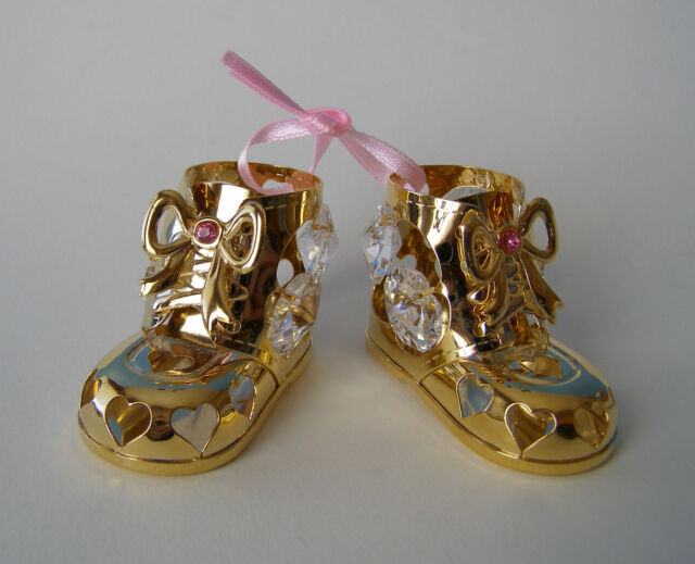 Made with SWAROVSKI CRYSTAL ELEMENTS BABY GIRL BOOTIES FIGURINE 24KT GOLD PLATED