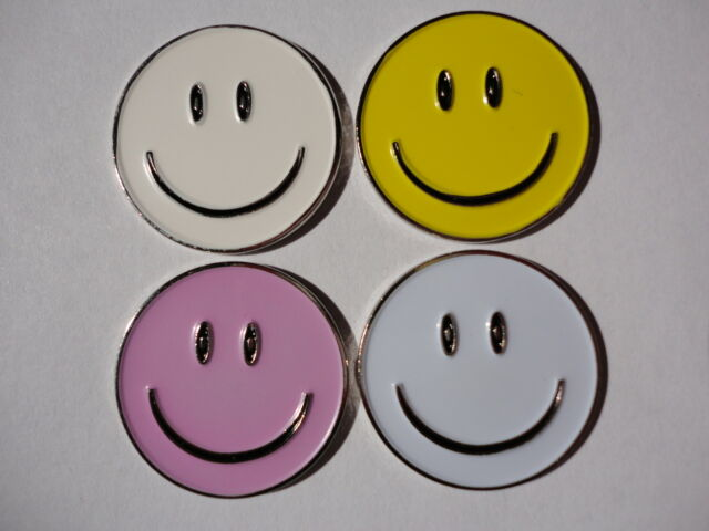 Assorted Color Smiley Metal Golf Ball Markers - 4 Pack