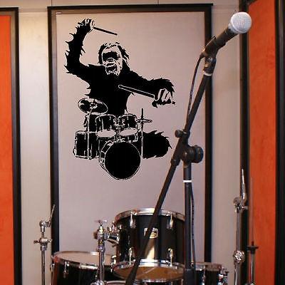 LARGE MUSIC MONKEY DRUM DRUMMER ART BEDROOM WALL MURAL STICKER TRANSFER  DECAL