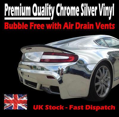 500mm x 750mm Air Drain Mirror Chrome Silver Vinyl Film - Car Wrap Sticker