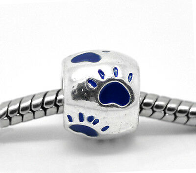 Silver Blue Cat Dog Animal Paw Print Spacer Charms Bead For Charm Bracelets