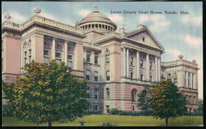 TOLEDO-OH-OHIO-Lucas-County-Court-House-Vintage-Linen-Postcard-Old-Town-View-PC
