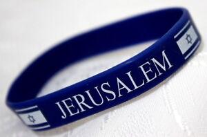 JERUSALEM-Bracelet-Jewish-Judaica-Blue-Rubber-Wristband