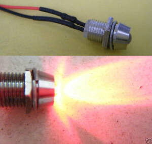 5-Red-Flash-Wired-12V-5mm-Car-LED-Metal-Holder-12RF-ling