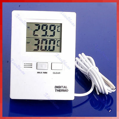 LCD Digital Temperature Indoor And Outdoor Thermometer Meter White