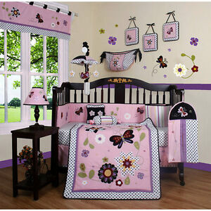 BABY-GIRLS-BUTTERFLY-DAISY-GARDEN-FLORAL-13-PIECES-QUILT-SET-CRIB-BEDDING-NEW