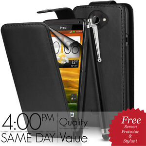BLACK-FLIP-LEATHER-CASE-STYLUS-SCREEN-PROTECTOR-FOR-HTC-ONE-X