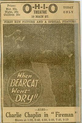 When Bearcat Went Dry Lon Chaney Vaudeville  Movie Ad Evansville Ind  1920