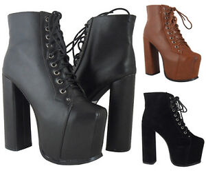 WOMENS-LADIES-BLACK-LACE-UP-ANKLE-PLATFORM-BLOCK-HIGH-HEEL-SHOES-BOOTS-BOOTIES