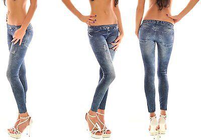Jeansleggings Leggings Jeansoptik blau jeans  34  36  38 destroyed used  Hose
