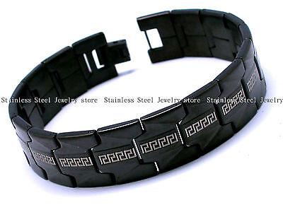 Mens Stainless Steel Bracelets Bangles Black Link Chain Greek Key Gift SS054