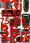 Canon EOS Rebel T3i 36 Piece Pro Kit With Canon EF-S 18-55mm f 3.5~5.6 IS II Lens , Canon 75-300mm f / 4.5-5.6 Telephoto Lens ,5 Years Extended warranty Plan ,Excellent Handle ,Rain sleeve ,Spirit Level , 16G high speed card , , 3 Piece Lens Cleaning K...