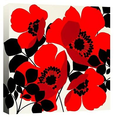 Dancing Red & Black Poppy Flowers Floral - Canvas Wall Art Picture Print