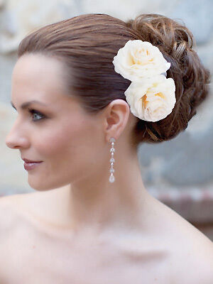2pcs Bridal White Champagne Hair Flower Clip Brooch Pin Wedding Party