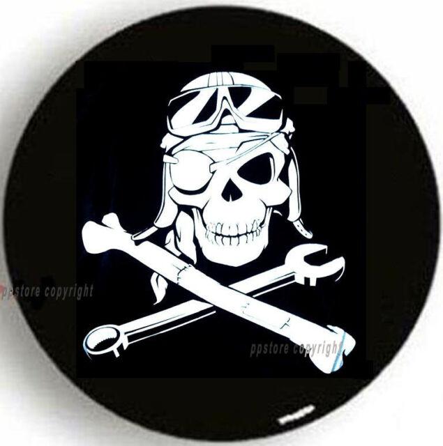 "SPARE TIRE COVER 26.3""-28.9"" w/ Mechanic Pirate Skull Samurai mb7688230p"