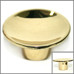 Image Is Loading ROUND Gold Polished Brass Cabinet Knobs Drawer Pull