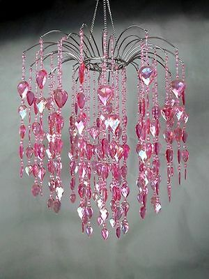 "Pink Waterfall Chandelier Raindrop Beads 18"" L W/Chain 27""L By Generation Store"