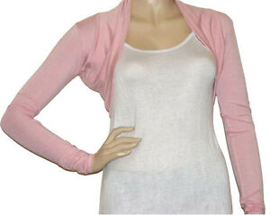 Ladies New Bolero / Shrug Cardigan Top - Size 10 - 22 (Baby Pink ...
