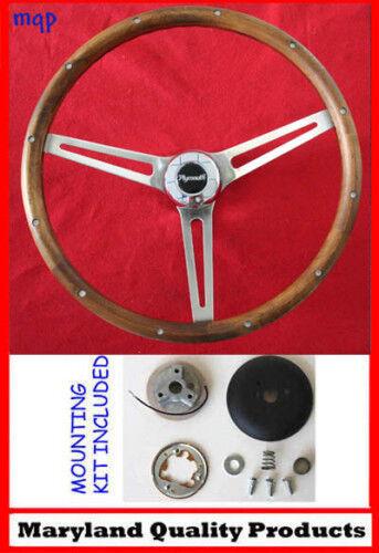 "70's Fury Scamp Duster Cuda GTX RR Wood Steering wheel Walnut 15"""