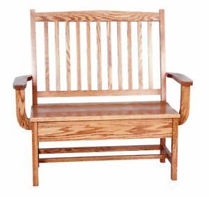 Image Is Loading Amish Oak Bench Wooden Wood Entry Benches Storage