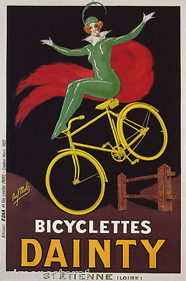 BICYCLETTES DAINTY WOMAN BICYCLE ACROBATICS FRENCH VINTAGE POSTER REPRO