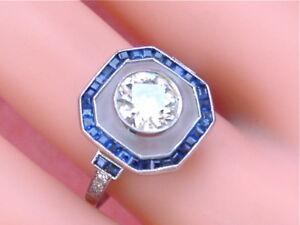 ART-DECO-1-10ct-EURO-DIAMOND-SAPPHIRE-ROCK-CRYSTAL-RING