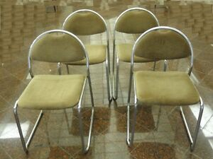4-x-MODERN-70-039-s-NICKEL-CHROME-DINING-LOUNGE-CHAIR-SAPORITI-ERA-MADE-IN-ITALY