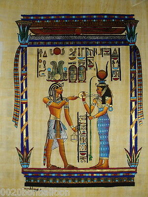 """Egypt King Ramses And Hathour Original Hand Painted Papyrus 12""""X16""""(30x40 Cm)"""