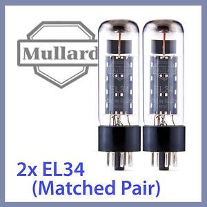 2x-NEW-Mullard-EL34-Reissue-XF2-Vacuum-Tubes-Matched-Pair-TESTED