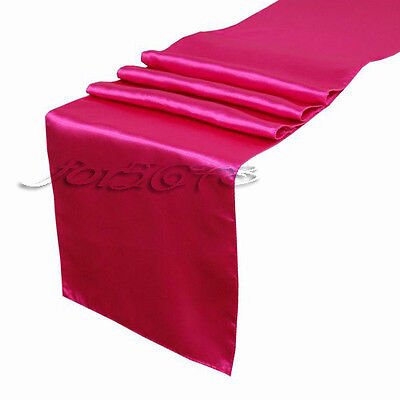 "Fuchsia Satin Table Runners 12"" x 108"" Wedding Decorations Hot Pink"