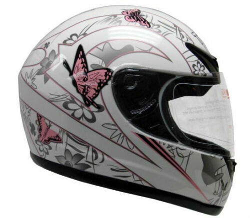 Pink White Butterfly Motorcycle Full Face Helmet DOT ~S/M/L