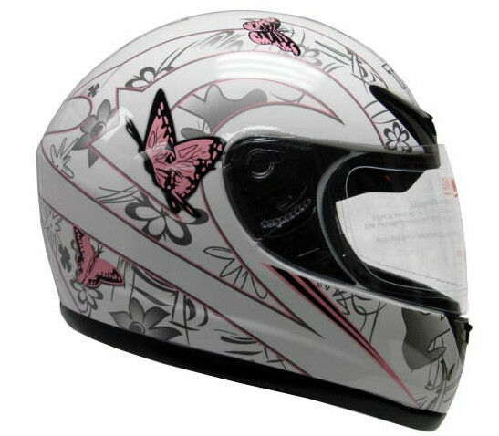 Pink White Butterfly Motorcycle Full Face Helmet DOT ~S/M/L