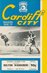 Cardiff-City-v-Bolton-Wanderers-9-Oct-1976-Football-Programme