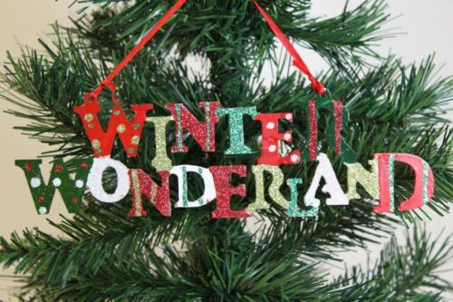 NEW 2 x Winter Wonderland Hanging Sign Ornament - Christmas Tree Decoration