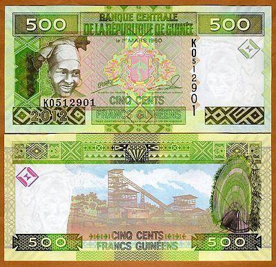 Guinea / Africa, 500 Francs, 2012, P-New, UNC > colorful