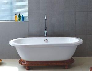 Acrylic-Dual-End-Wood-Pedestal-Style-Bathtub-BathTub