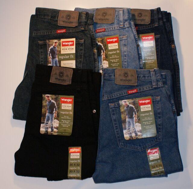 New Wrangler Five Star Regular Fit Jeans Men's Sizes Five Colors