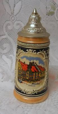 Vintage German Lidded Beer Stein Mug  Hand Painted