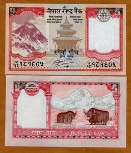 Nepal-5-Rupees-2010-P-New-60-UNC-Yak