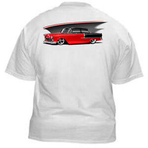 Kurbside-Kustoms-Red-039-55-Chevrolet-Belair-100-Cotton-Hot-Rod-T-shirt-EB-28