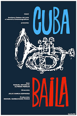 3047.Cuba baila music POSTER.Trumpet.Jazz. bedroom decor.Interior room wall art