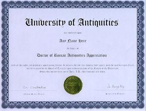 Doctor Roman Antiquities Appreciation Novelty Diploma