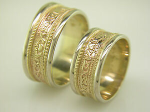 image is loading 14k gold and white gold irish handcrafted claddagh - Celtic Wedding Ring Sets