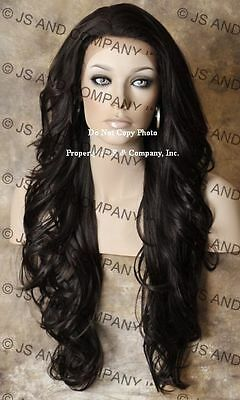 Heat Safe French Lace Front WIG Long Wavy Dark Brown WBKM 4