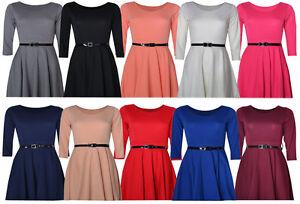 3-4-Sleeved-Skater-Dress-Womens-Belted-Size-10-16