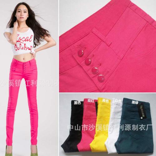 Women 4 Button Basic Colorful Slim Skinny Strech Cotton Denim Jeans Pencil Pants