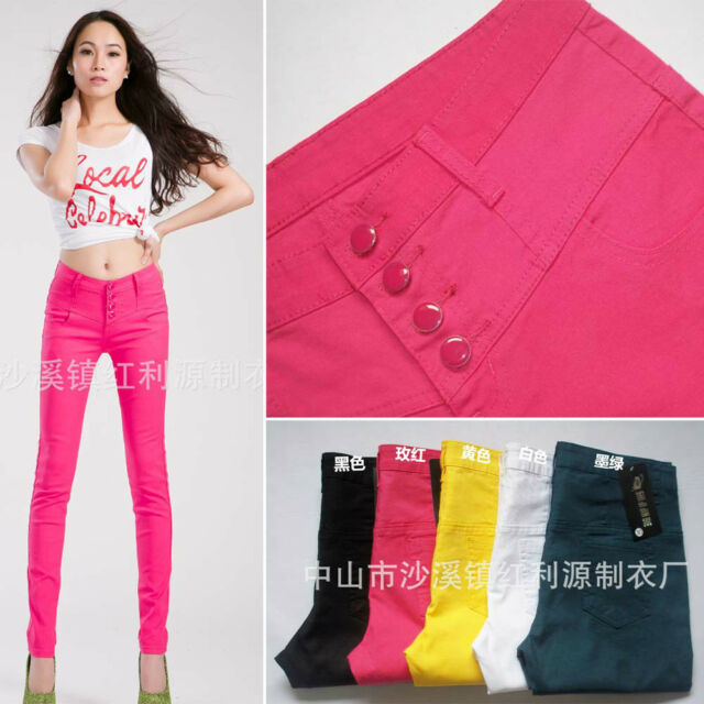 Women 4 Button Basic Colorful Slim Skinny Strech Cotton Denim Jeans Pencil Pants